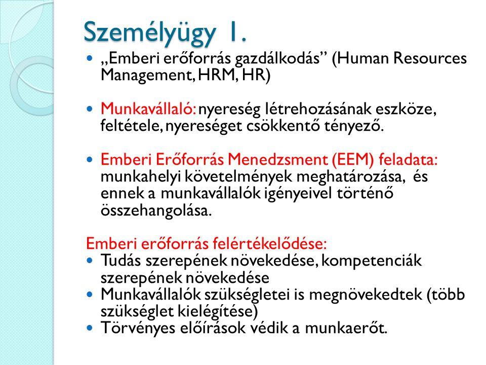 """Személyügy 1. """"Emberi erőforrás gazdálkodás"""" (Human Resources Management, HRM, HR) Munkavállaló: nyereség létrehozásának eszköze, feltétele, nyeresége"""
