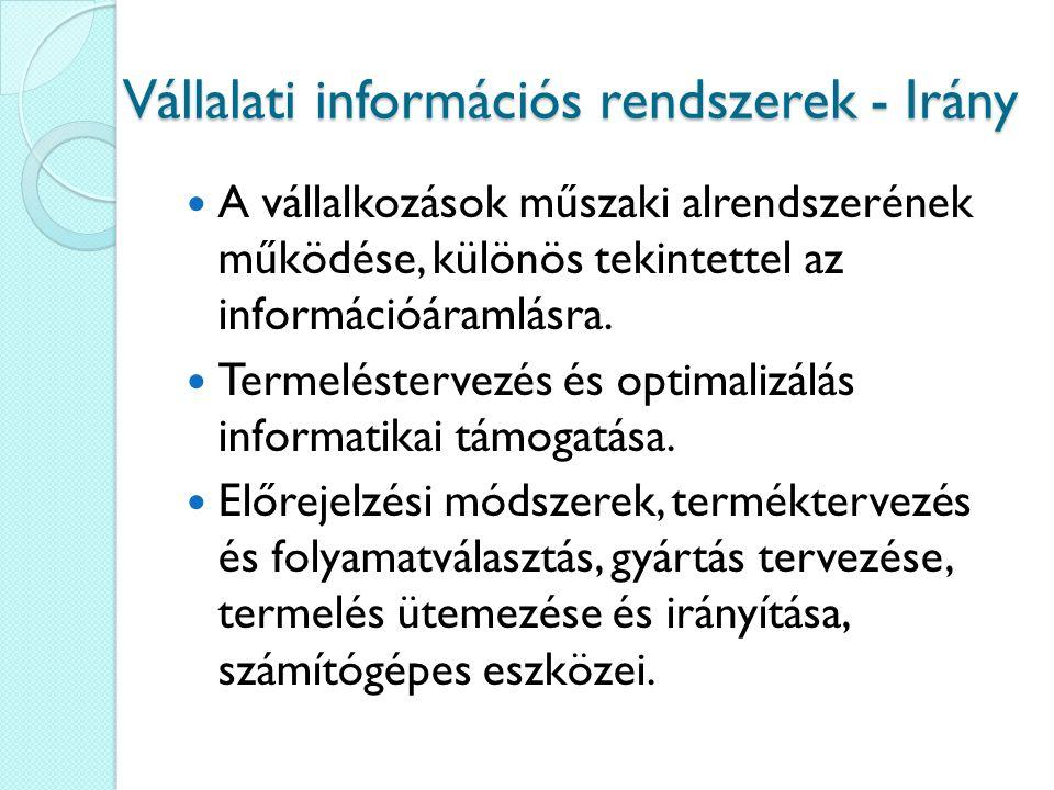 Vállalati információs rendszerek - Irány A vállalkozások műszaki alrendszerének működése, különös tekintettel az információáramlásra. Termeléstervezés