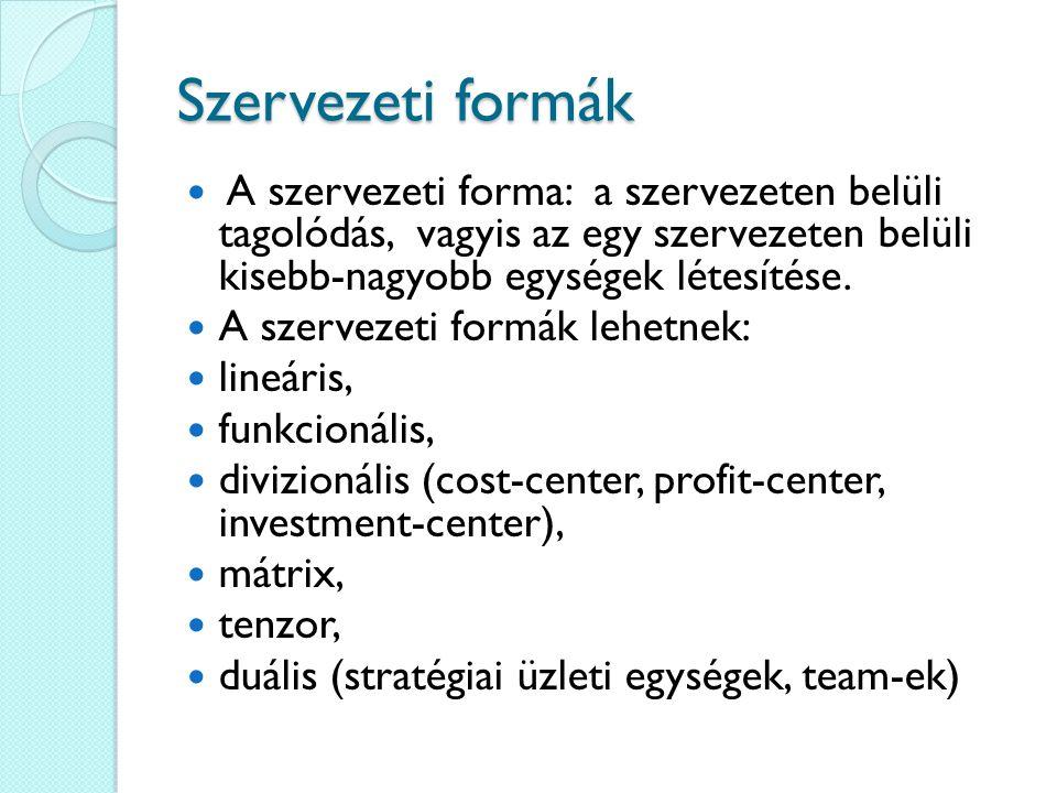 Szervezeti formák A szervezeti forma: a szervezeten belüli tagolódás, vagyis az egy szervezeten belüli kisebb-nagyobb egységek létesítése. A szervezet