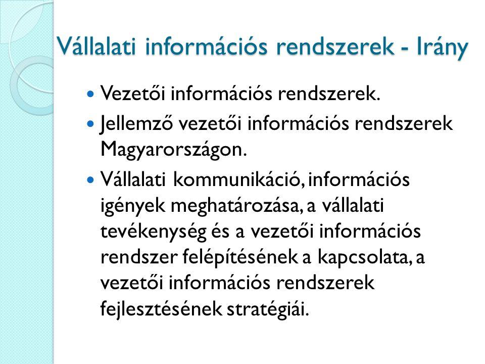 Vállalati információs rendszerek - Irány Vezetői információs rendszerek. Jellemző vezetői információs rendszerek Magyarországon. Vállalati kommunikáci