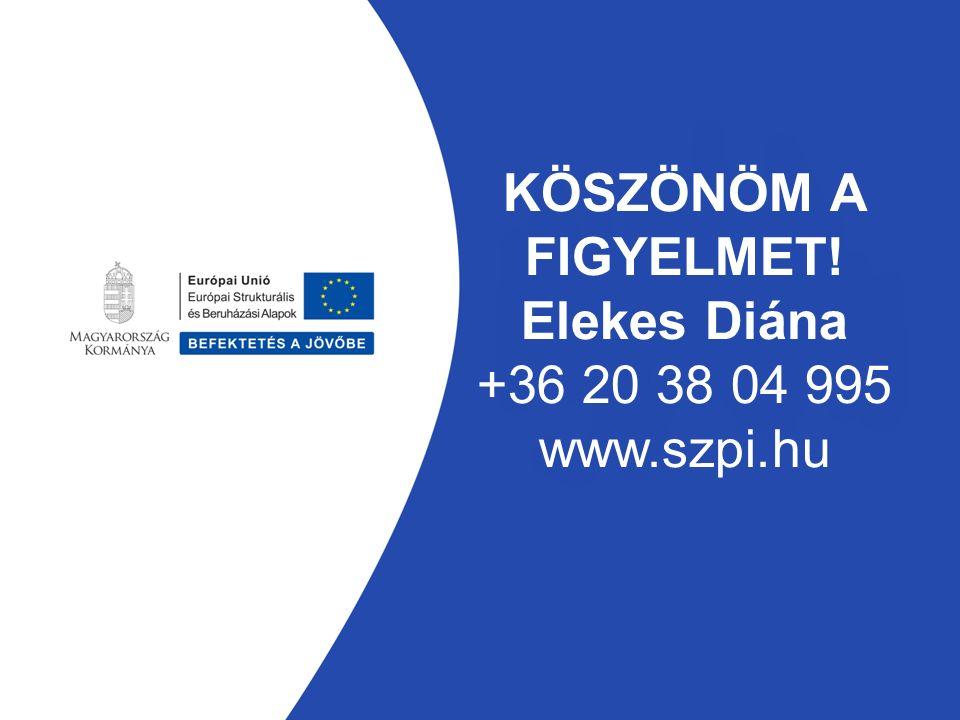 KÖSZÖNÖM A FIGYELMET! Elekes Diána +36 20 38 04 995 www.szpi.hu
