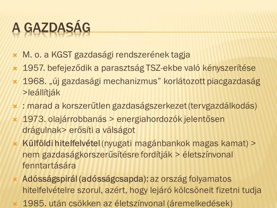  M. o. a KGST gazdasági rendszerének tagja  1957.