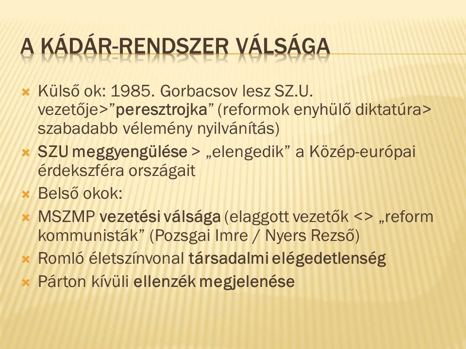 Külső ok: 1985. Gorbacsov lesz SZ.U.