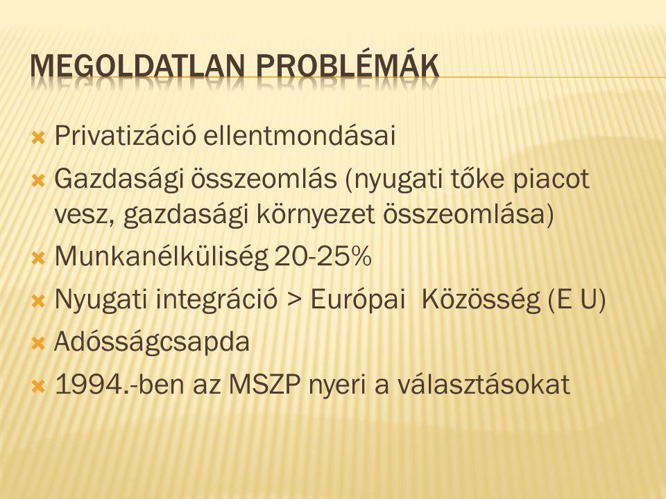  Privatizáció ellentmondásai  Gazdasági összeomlás (nyugati tőke piacot vesz, gazdasági környezet összeomlása)  Munkanélküliség 20-25%  Nyugati integráció > Európai Közösség (E U)  Adósságcsapda  1994.-ben az MSZP nyeri a választásokat