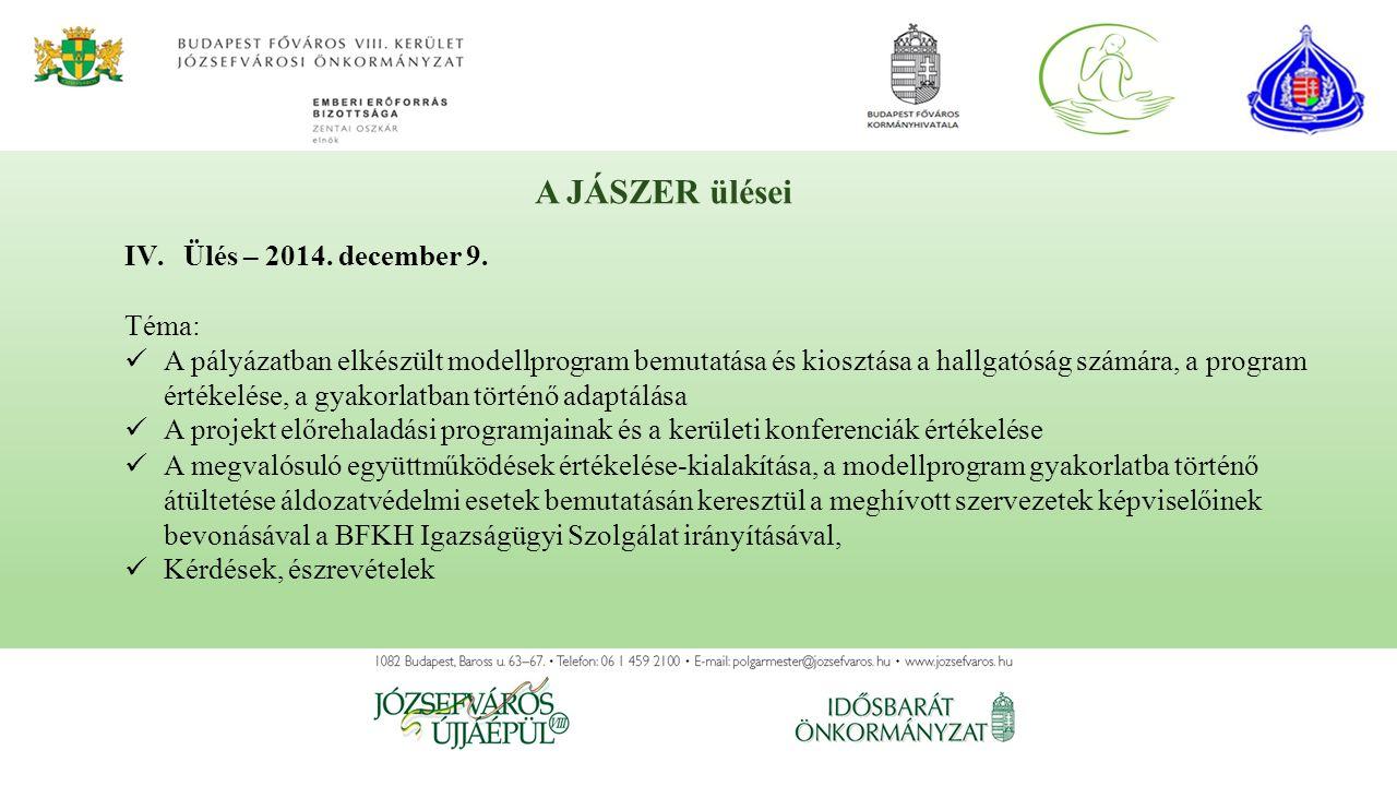 IV.Ülés – 2014. december 9. Téma: A pályázatban elkészült modellprogram bemutatása és kiosztása a hallgatóság számára, a program értékelése, a gyakorl