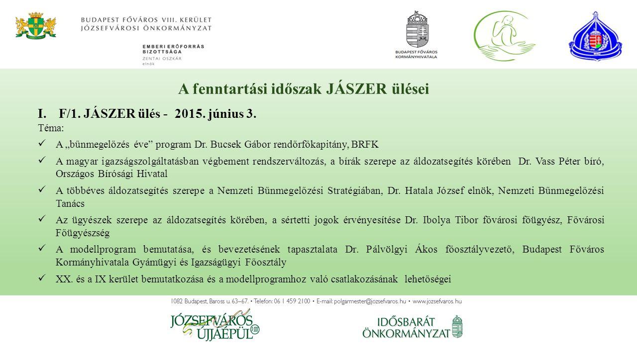 A fenntartási időszak JÁSZER ülései I.F/1.JÁSZER ülés - 2015.