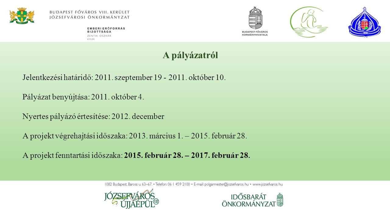 Jelentkezési határidő: 2011. szeptember 19 - 2011. október 10. Pályázat benyújtása: 2011. október 4. Nyertes pályázó értesítése: 2012. december A proj