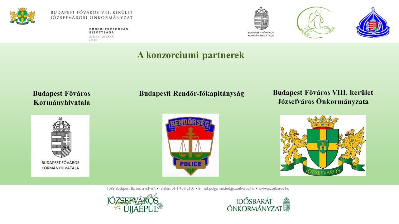 A konzorciumi partnerek Budapesti Rendőr-főkapitányság Budapest Főváros VIII. kerület Józsefváros Önkormányzata Budapest Főváros Kormányhivatala