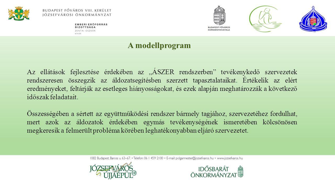 """A modellprogram Az ellátások fejlesztése érdekében az """"ÁSZER rendszerben tevékenykedő szervezetek rendszeresen összegzik az áldozatsegítésben szerzett tapasztalataikat."""