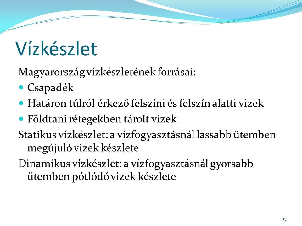 Vízkészlet Magyarország vízkészletének forrásai: Csapadék Határon túlról érkező felszíni és felszín alatti vizek Földtani rétegekben tárolt vizek Statikus vízkészlet: a vízfogyasztásnál lassabb ütemben megújuló vizek készlete Dinamikus vízkészlet: a vízfogyasztásnál gyorsabb ütemben pótlódó vizek készlete 17