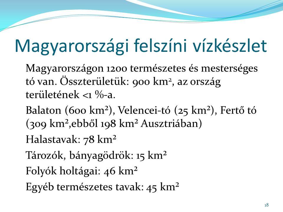 Magyarországi felszíni vízkészlet Magyarországon 1200 természetes és mesterséges tó van.