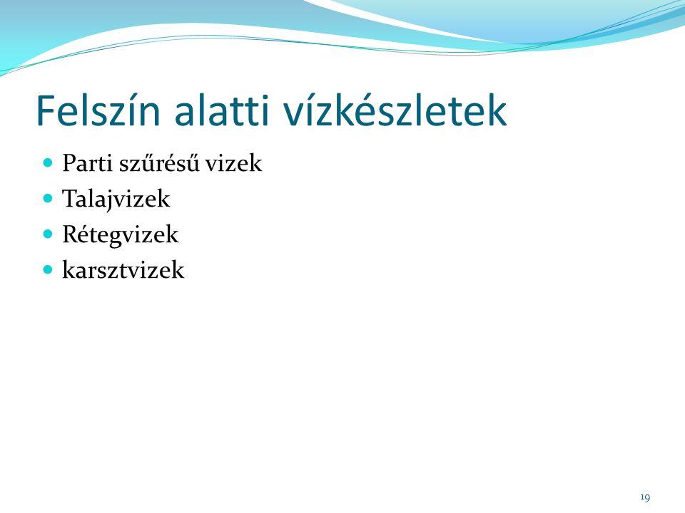 Felszín alatti vízkészletek Parti szűrésű vizek Talajvizek Rétegvizek karsztvizek 19