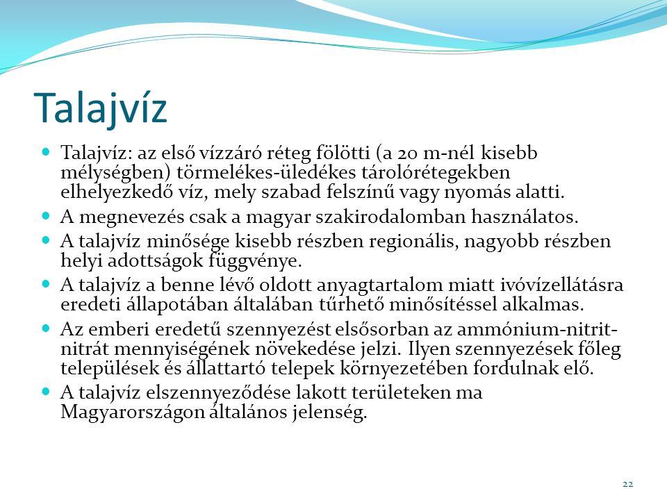 Talajvíz Talajvíz: az első vízzáró réteg fölötti (a 20 m-nél kisebb mélységben) törmelékes-üledékes tárolórétegekben elhelyezkedő víz, mely szabad felszínű vagy nyomás alatti.