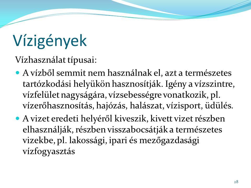 Vízigények Vízhasználat típusai: A vízből semmit nem használnak el, azt a természetes tartózkodási helyükön hasznosítják.