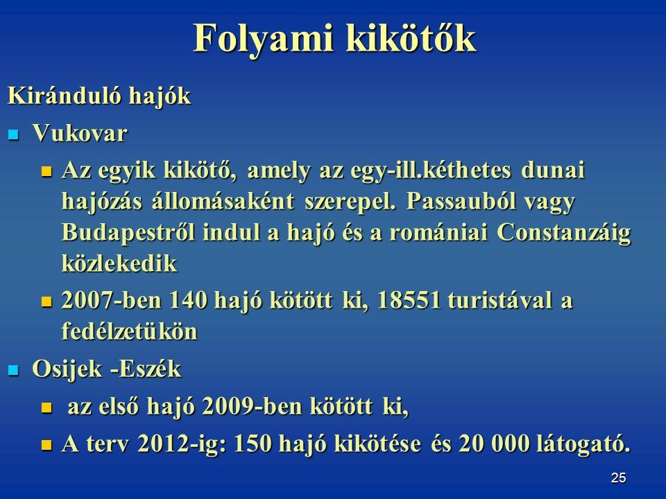 25 Folyami kikötők Kiránduló hajók Vukovar Vukovar Az egyik kikötő, amely az egy-ill.kéthetes dunai hajózás állomásaként szerepel.