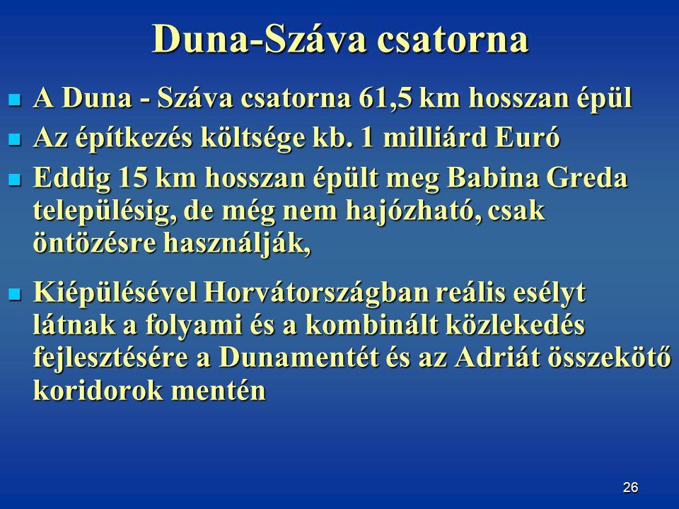 26 Duna-Száva csatorna A Duna - Száva csatorna 61,5 km hosszan épül A Duna - Száva csatorna 61,5 km hosszan épül Az építkezés költsége kb.