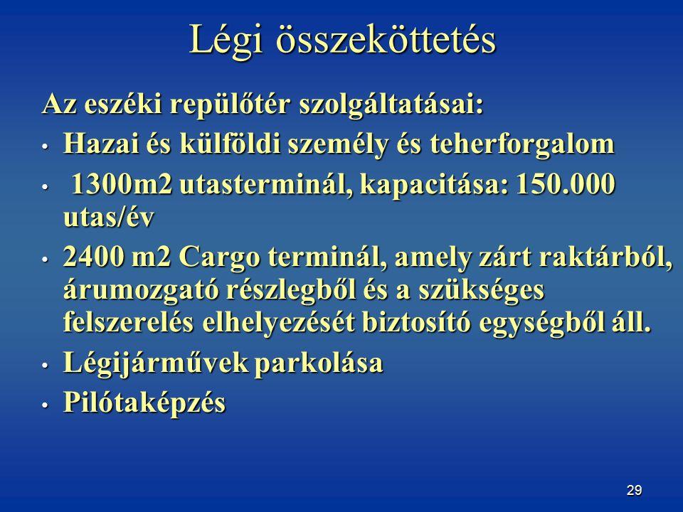 29 Légi összeköttetés Az eszéki repülőtér szolgáltatásai: Hazai és külföldi személy és teherforgalom Hazai és külföldi személy és teherforgalom 1300m2 utasterminál, kapacitása: 150.000 utas/év 1300m2 utasterminál, kapacitása: 150.000 utas/év 2400 m2 Cargo terminál, amely zárt raktárból, árumozgató részlegből és a szükséges felszerelés elhelyezését biztosító egységből áll.