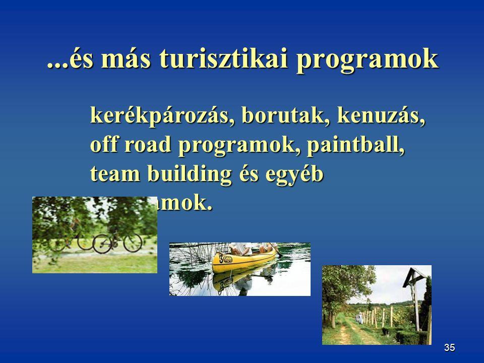 35...és más turisztikai programok kerékpározás, borutak, kenuzás, off road programok, paintball, team building és egyéb programok.
