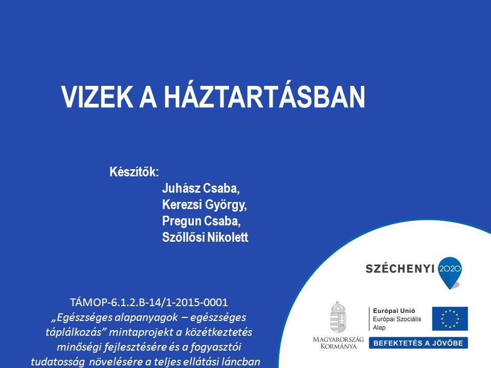 """VIZEK A HÁZTARTÁSBAN TÁMOP-6.1.2.B-14/1-2015-0001 """"Egészséges alapanyagok – egészséges táplálkozás mintaprojekt a közétkeztetés minőségi fejlesztésére és a fogyasztói tudatosság növelésére a teljes ellátási láncban Készítők: Juhász Csaba, Kerezsi György, Pregun Csaba, Szőllősi Nikolett"""