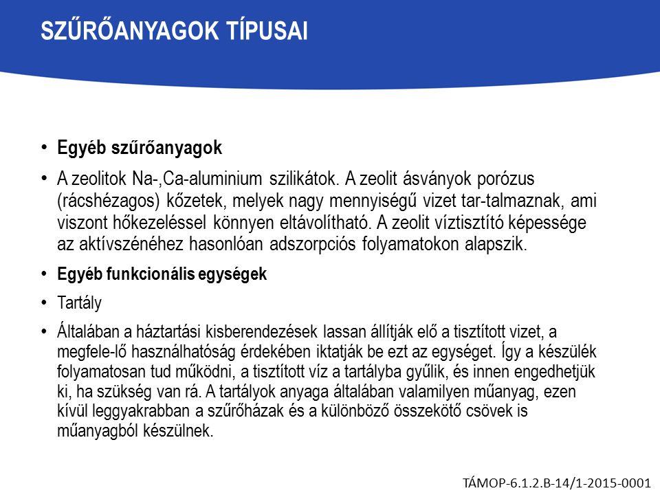 SZŰRŐANYAGOK TÍPUSAI Egyéb szűrőanyagok A zeolitok Na-,Ca-aluminium szilikátok.