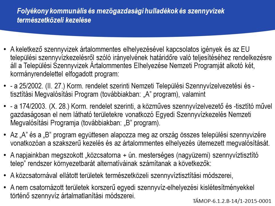 Folyékony kommunális és mezőgazdasági hulladékok és szennyvizek természetközeli kezelése A keletkező szennyvizek ártalommentes elhelyezésével kapcsolatos igények és az EU települési szennyvízkezelésről szóló irányelvének határidőre való teljesítéséhez rendelkezésre áll a Települési Szennyvizek Ártalommentes Elhelyezése Nemzeti Programját alkotó két, kormányrendelettel elfogadott program: - a 25/2002.