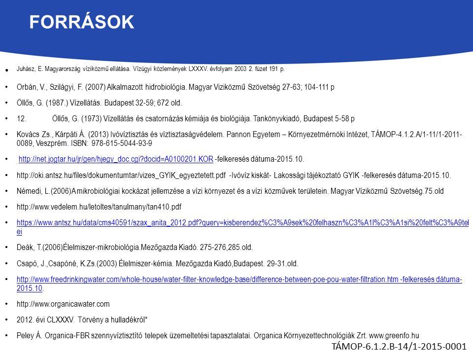 FORRÁSOK Juhász, E. Magyarország víziközmű ellátása.