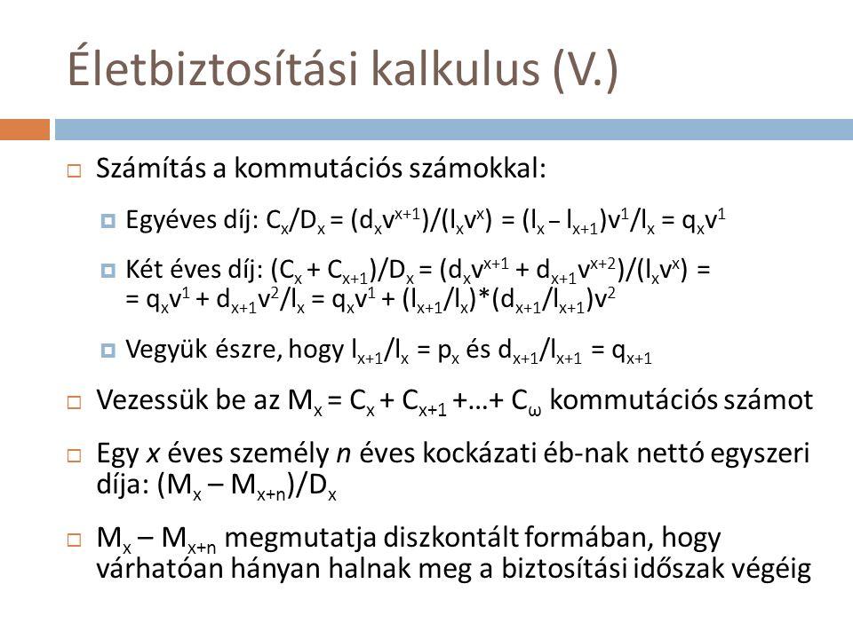 Életbiztosítási kalkulus (V.)  Számítás a kommutációs számokkal:  Egyéves díj: C x /D x = (d x v x+1 )/(l x v x ) = (l x – l x+1 )v 1 /l x = q x v 1  Két éves díj: (C x + C x+1 )/D x = (d x v x+1 + d x+1 v x+2 )/(l x v x ) = = q x v 1 + d x+1 v 2 /l x = q x v 1 + (l x+1 /l x )*(d x+1 /l x+1 )v 2  Vegyük észre, hogy l x+1 /l x = p x és d x+1 /l x+1 = q x+1  Vezessük be az M x = C x + C x+1 +…+ C ω kommutációs számot  Egy x éves személy n éves kockázati éb-nak nettó egyszeri díja: (M x – M x+n )/D x  M x – M x+n megmutatja diszkontált formában, hogy várhatóan hányan halnak meg a biztosítási időszak végéig