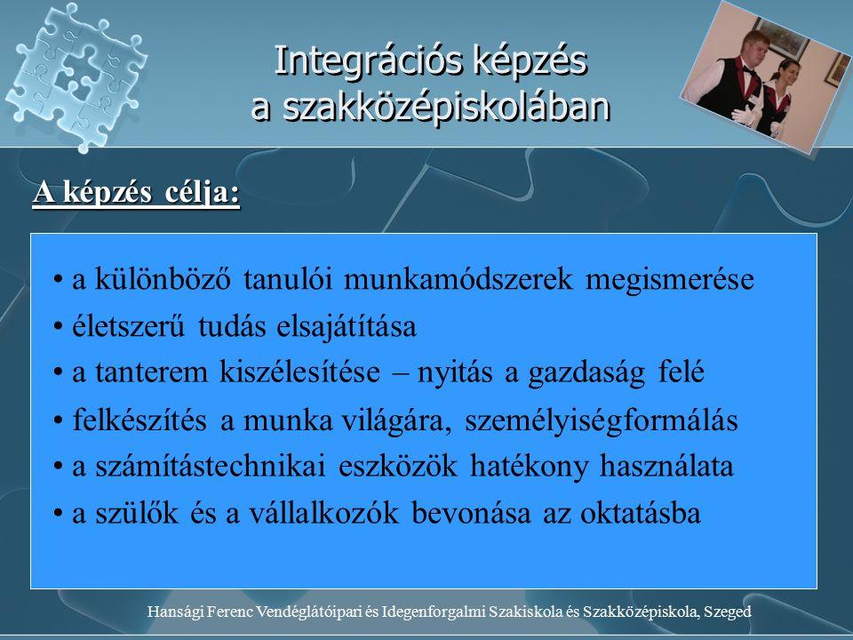 Hansági Ferenc Vendéglátóipari és Idegenforgalmi Szakiskola és Szakközépiskola, Szeged Integrációs képzés a szakközépiskolában A képzés célja: a különböző tanulói munkamódszerek megismerése életszerű tudás elsajátítása a tanterem kiszélesítése – nyitás a gazdaság felé felkészítés a munka világára, személyiségformálás a számítástechnikai eszközök hatékony használata a szülők és a vállalkozók bevonása az oktatásba