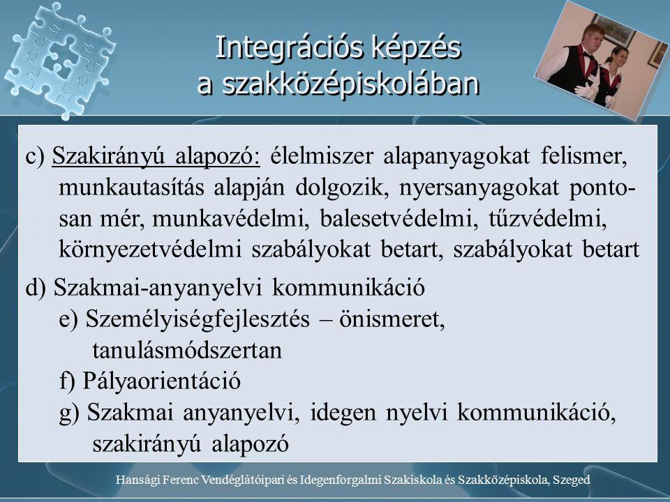 Hansági Ferenc Vendéglátóipari és Idegenforgalmi Szakiskola és Szakközépiskola, Szeged Integrációs képzés a szakközépiskolában c) Szakirányú alapozó: