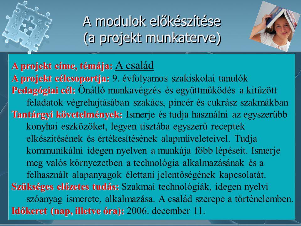 Hansági Ferenc Vendéglátóipari és Idegenforgalmi Szakiskola és Szakközépiskola, Szeged A modulok előkészítése (a projekt munkaterve) A projekt címe, t