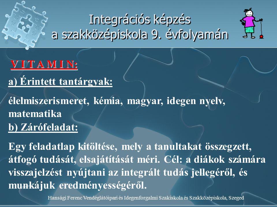 Hansági Ferenc Vendéglátóipari és Idegenforgalmi Szakiskola és Szakközépiskola, Szeged Integrációs képzés a szakközépiskola 9. évfolyamán V I T A M I