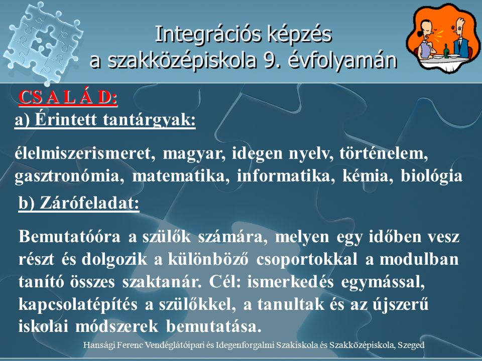 Hansági Ferenc Vendéglátóipari és Idegenforgalmi Szakiskola és Szakközépiskola, Szeged Integrációs képzés a szakközépiskola 9. évfolyamán CS A L Á D: