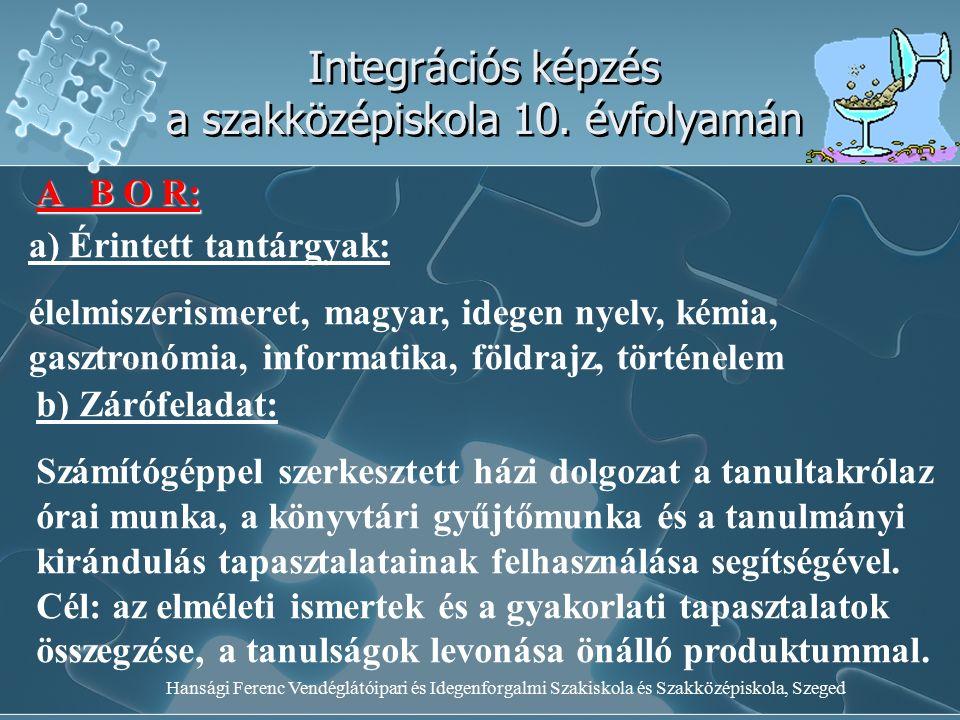 Hansági Ferenc Vendéglátóipari és Idegenforgalmi Szakiskola és Szakközépiskola, Szeged Integrációs képzés a szakközépiskola 10. évfolyamán A B O R: a)