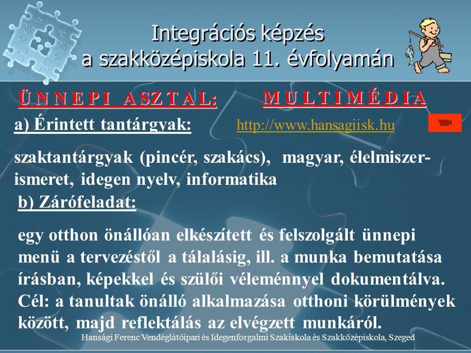 Hansági Ferenc Vendéglátóipari és Idegenforgalmi Szakiskola és Szakközépiskola, Szeged Integrációs képzés a szakközépiskola 11. évfolyamán Ü N N E P I