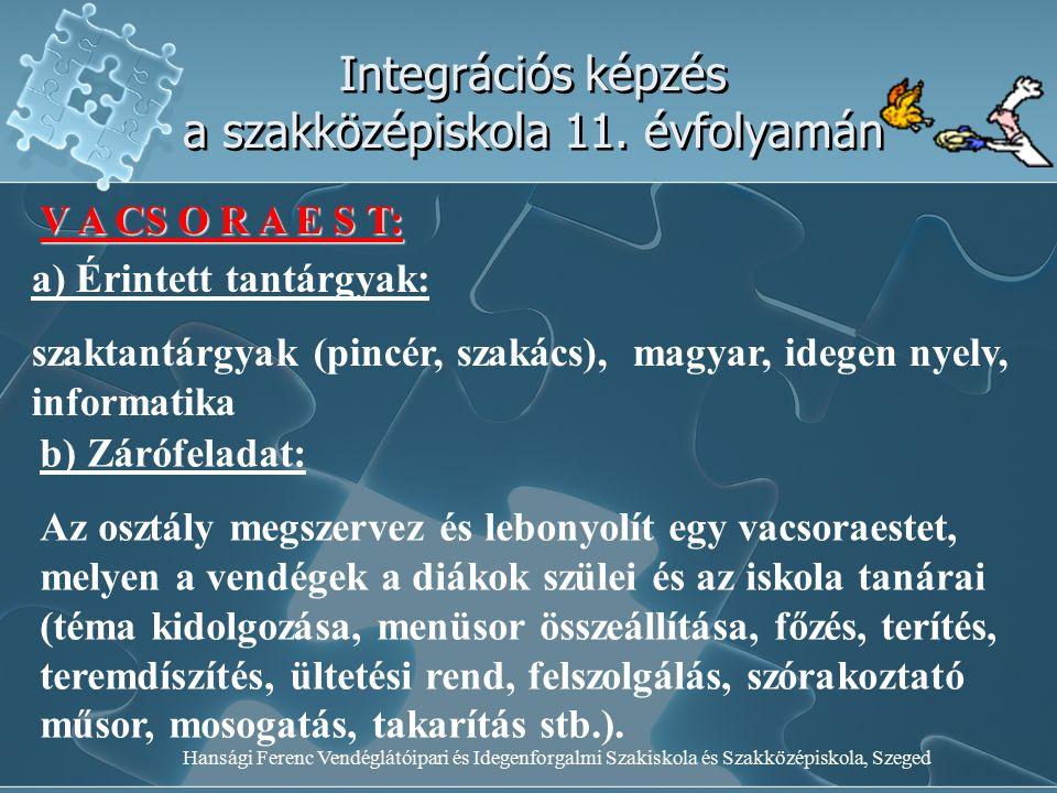 Hansági Ferenc Vendéglátóipari és Idegenforgalmi Szakiskola és Szakközépiskola, Szeged Integrációs képzés a szakközépiskola 11. évfolyamán V A CS O R