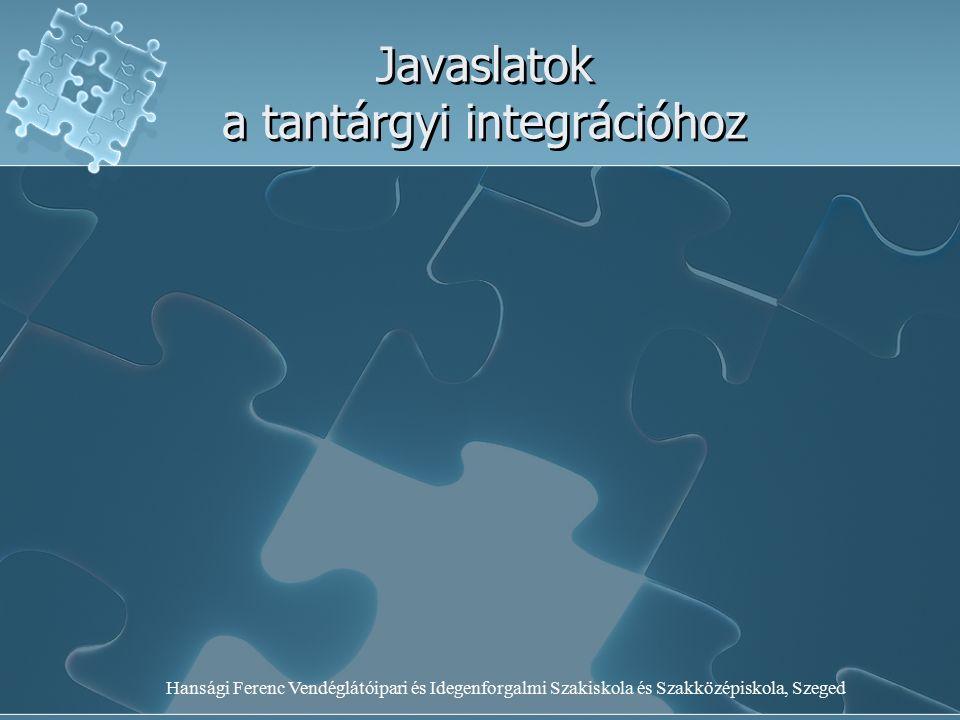 Hansági Ferenc Vendéglátóipari és Idegenforgalmi Szakiskola és Szakközépiskola, Szeged Javaslatok a tantárgyi integrációhoz