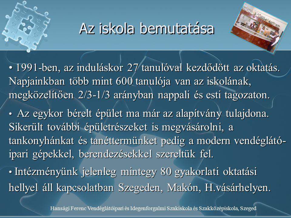 Hansági Ferenc Vendéglátóipari és Idegenforgalmi Szakiskola és Szakközépiskola, Szeged Az iskola bemutatása 1991-ben, az induláskor 27 tanulóval kezdő