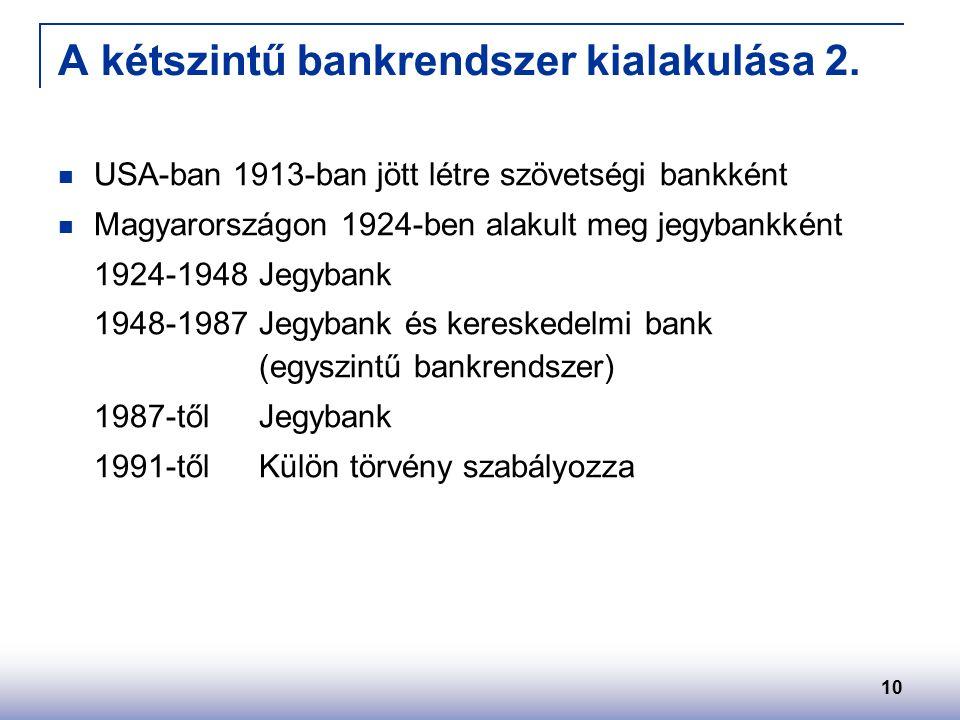 10 A kétszintű bankrendszer kialakulása 2.