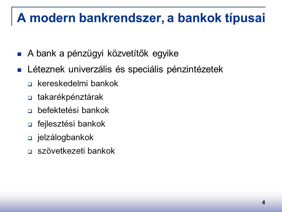 4 A modern bankrendszer, a bankok típusai A bank a pénzügyi közvetítők egyike Léteznek univerzális és speciális pénzintézetek  kereskedelmi bankok  takarékpénztárak  befektetési bankok  fejlesztési bankok  jelzálogbankok  szövetkezeti bankok