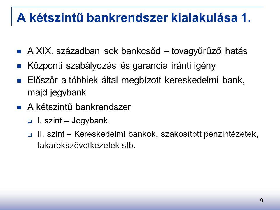 9 A kétszintű bankrendszer kialakulása 1. A XIX.