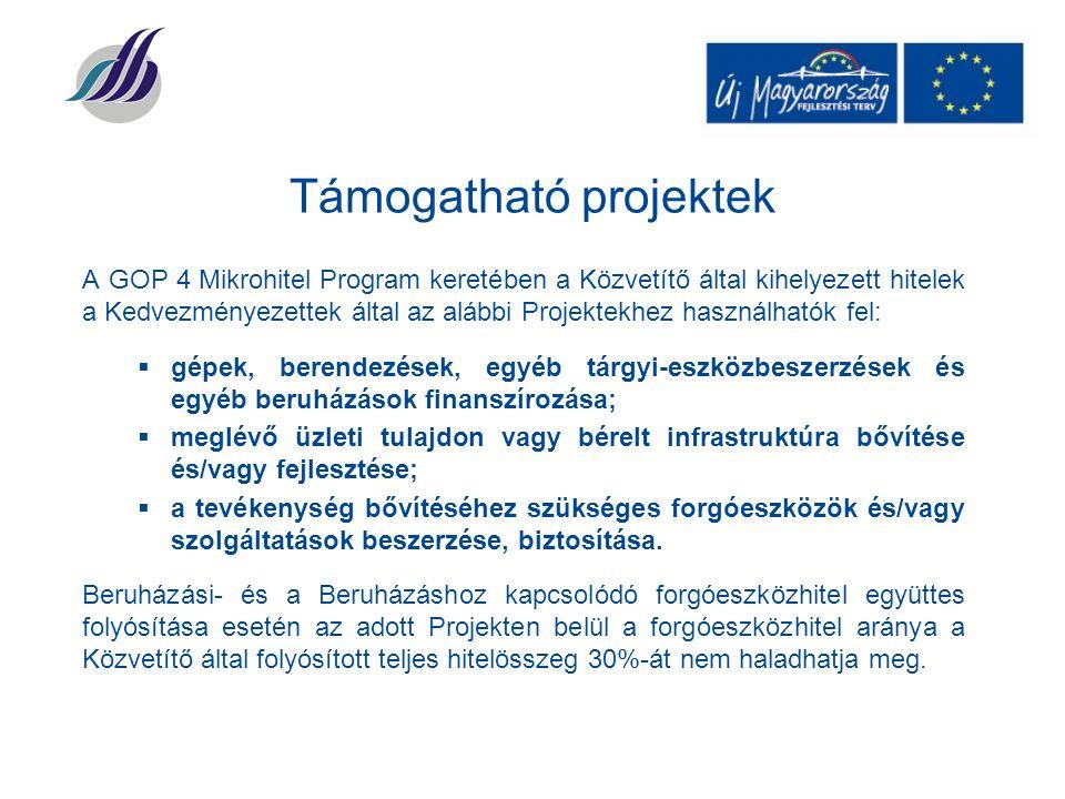 Támogatható projektek A GOP 4 Mikrohitel Program keretében a Közvetítő által kihelyezett hitelek a Kedvezményezettek által az alábbi Projektekhez használhatók fel:  gépek, berendezések, egyéb tárgyi-eszközbeszerzések és egyéb beruházások finanszírozása;  meglévő üzleti tulajdon vagy bérelt infrastruktúra bővítése és/vagy fejlesztése;  a tevékenység bővítéséhez szükséges forgóeszközök és/vagy szolgáltatások beszerzése, biztosítása.