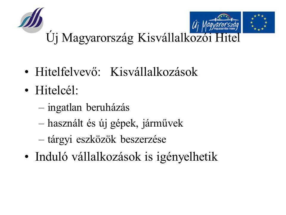 Új Magyarország Kisvállalkozói Hitel Hitelfelvevő:Kisvállalkozások Hitelcél: –ingatlan beruházás –használt és új gépek, járművek –tárgyi eszközök beszerzése Induló vállalkozások is igényelhetik