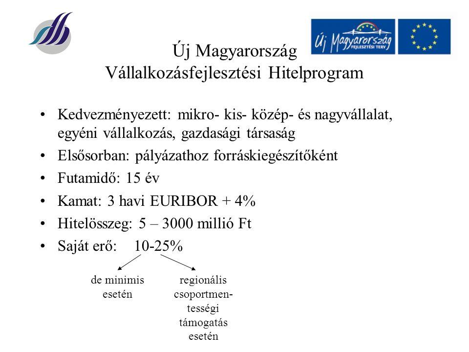 Új Magyarország Vállalkozásfejlesztési Hitelprogram Kedvezményezett: mikro- kis- közép- és nagyvállalat, egyéni vállalkozás, gazdasági társaság Elsősorban: pályázathoz forráskiegészítőként Futamidő: 15 év Kamat: 3 havi EURIBOR + 4% Hitelösszeg: 5 – 3000 millió Ft Saját erő:10-25% de minimis esetén regionális csoportmen- tességi támogatás esetén