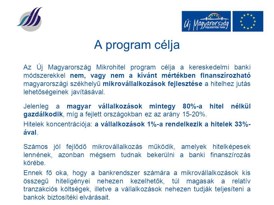 A program célja Az Új Magyarország Mikrohitel program célja a kereskedelmi banki módszerekkel nem, vagy nem a kívánt mértékben finanszírozható magyarországi székhelyű mikrovállalkozások fejlesztése a hitelhez jutás lehetőségeinek javításával.