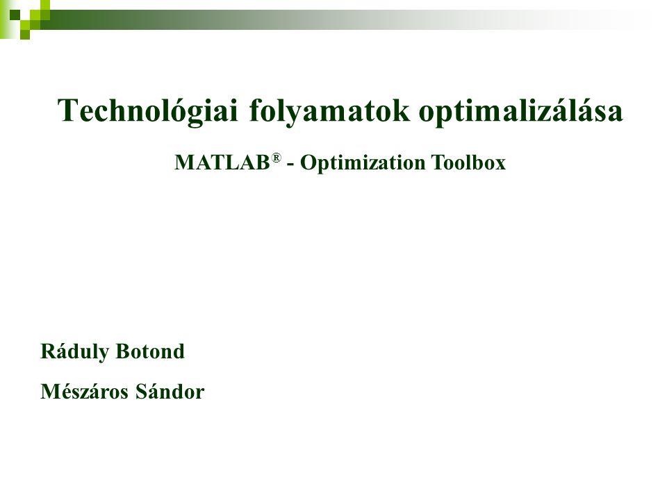 Technológiai folyamatok optimalizálása Ráduly Botond Mészáros Sándor MATLAB ® - Optimization Toolbox