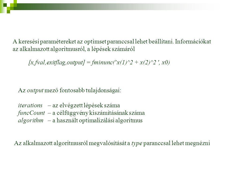 A keresési paramétereket az optimset paranccsal lehet beállítani.