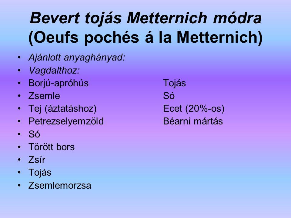 Bevert tojás Metternich módra (Oeufs pochés á la Metternich) Ajánlott anyaghányad: Vagdalthoz: Borjú-apróhús Tojás Zsemle Só Tej (áztatáshoz) Ecet (20