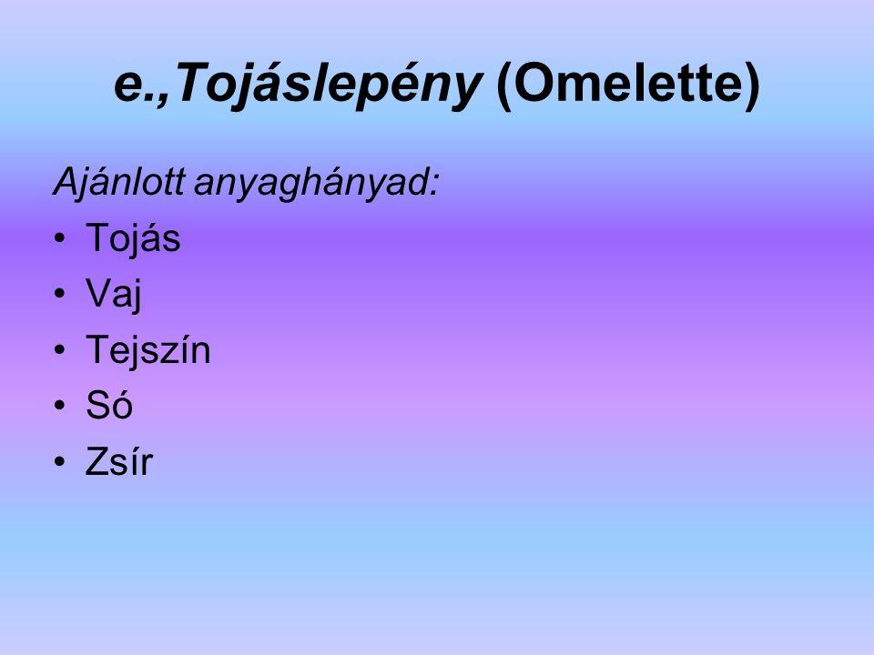 e.,Tojáslepény (Omelette) Ajánlott anyaghányad: Tojás Vaj Tejszín Só Zsír