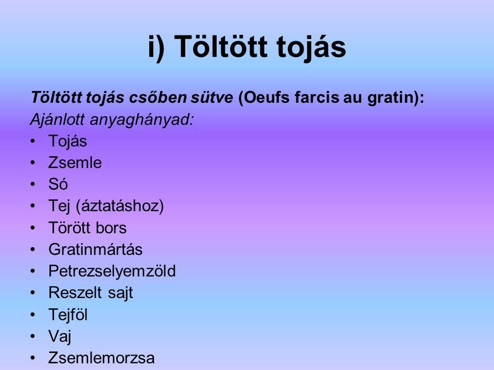 i) Töltött tojás Töltött tojás csőben sütve (Oeufs farcis au gratin): Ajánlott anyaghányad: Tojás Zsemle Só Tej (áztatáshoz) Törött bors Gratinmártás