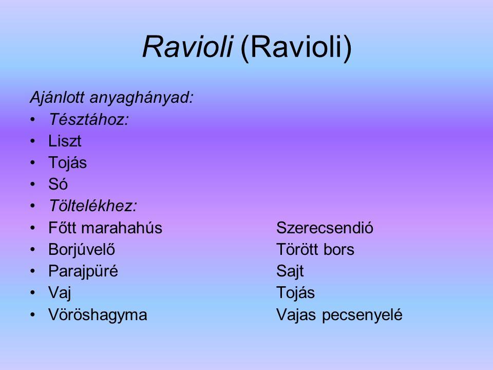 Ravioli (Ravioli) Ajánlott anyaghányad: Tésztához: Liszt Tojás Só Töltelékhez: Főtt marahahús Szerecsendió Borjúvelő Törött bors Parajpüré Sajt Vaj To